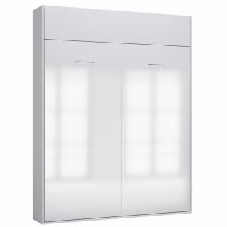 Armoire lit escamotable DYNAMO structure blanc mat façade blanc brillant 160*200 cm
