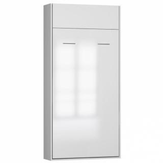 Armoire lit escamotable DYNAMO structure blanc mat façade blanc brillant 90*200 cm