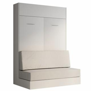 Armoire lit escamotable DYNAMO SOFA blanc mat canapé polyuréthane blanc cassé 140*200 cm
