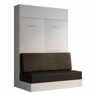 Armoire lit escamotable DYNAMO SOFA blanc mat canapé polyuréthane noir 140*200 cm