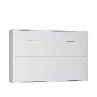 Armoire lit horizontale escamotable BELA blanc mat couchage 140*200 cm.