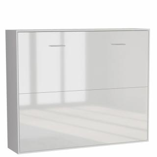 Armoire lit horizontale escamotable STRADA-V2 structure blanc mat façade blanc brillant couchage 140*200 cm.
