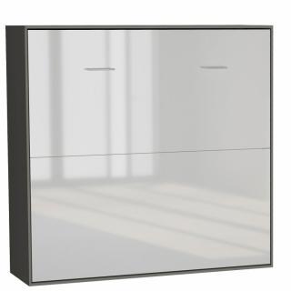 Armoire lit horizontale escamotable STRADA-V2 structure gris graphite mat façade blanc brillant couchage 160*200 cm.