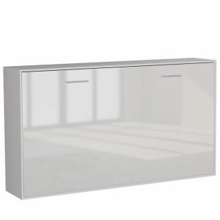Armoire lit horizontale escamotable STRADA-V2 structure blanc mat façade blanc brillant couchage 90*200 cm.