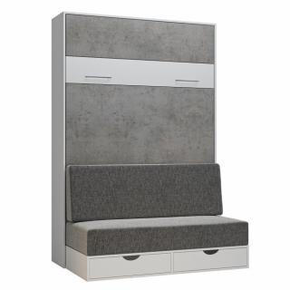 Armoire lit escamotable LOFT SOFA gris béton canapé tiroirs 140*200 cm