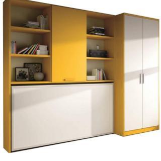 Armoire lit transversale MURANO avec étagères et armoire Couchage 90/190cm