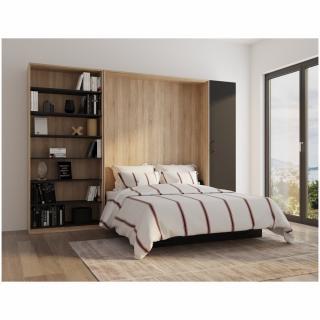 Composition lit escamotable style industriel TEKNO bi-ton chêne noir mat bibliothèque 160*200 cm L : 329 cm