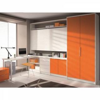 Armoire lit transversale ARTEMIS orange et blanc avec bureau et rangements Couchage 90/190cm