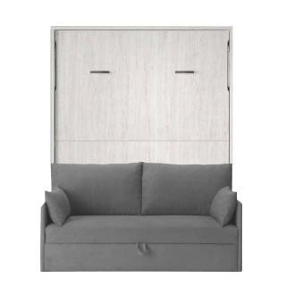 Armoire lit verticale BONITA chêne clair couchage 140*190cm profondeur 56 cm canapé intégré tissu gris