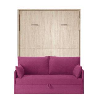 Armoire lit verticale BONITA couchage 140*190cm canapé intégré canapé tissu mauve