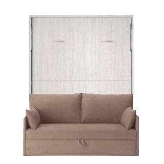 Armoire lit verticale BONITA chêne gris couchage 160*190cm canapé intégré canapé tissu taupe