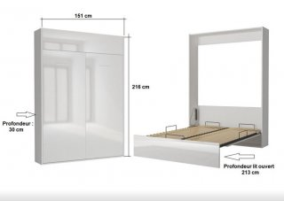Armoire lit escamotable DYNAMO structure blanc mat façade blanc brillant 140*200 cm