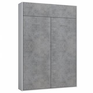 Armoire lit escamotable DYNAMO blanc mat façade gris béton 140 x 200 cm