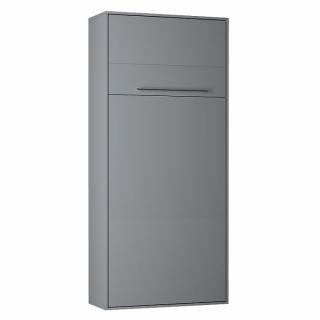 Armoire lit escamotable KOMPACT Ouverture assistée, coloris gris mat couchage 90*200 cm.
