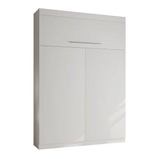 Lit escamotable LUTECIA Couchage 140 x 190 cm profondeur 47 cm coloris blanc mat tête de lit intégrée.