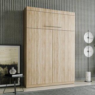 Lit escamotable LUTECIA Couchage 140 x 190 cm profondeur 47 cm mélaminé chêne naturel tête de lit intégrée