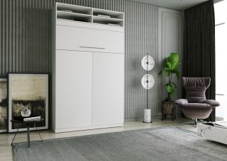 Lit escamotable LUTECIA surmeuble 140 x 190 cm profondeur 50 cm blanc mat