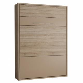 Armoire lit escamotable MYKONOS chêne naturel / beige couchage 140*200 cm.
