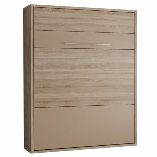 Armoire lit escamotable MYKONOS chêne naturel / beige couchage 160*200 cm.