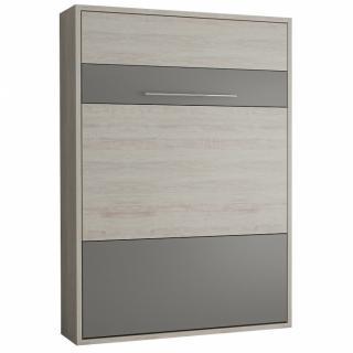 Armoire lit escamotable MYKONOS pin / gris graphite couchage 140*200 cm.