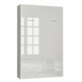 Armoire lit escamotable SMART-V2 structure blanc mat, façade Gloss blanc brillant 140*200 cm