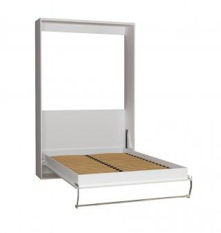 Armoire lit escamotable SMART-V2 blanc mat façade Gloss blanc brillant 140*200 cm