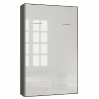 Armoire lit escamotable SMART-V2 structure gris graphite mat, façade Gloss blanc brillant 140*200 cm