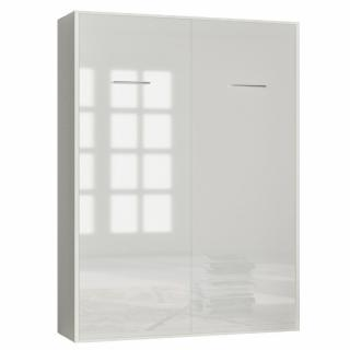 Armoire lit escamotable SMART-V2 structure blanc mat, façade Gloss blanc brillant 160*200 cm