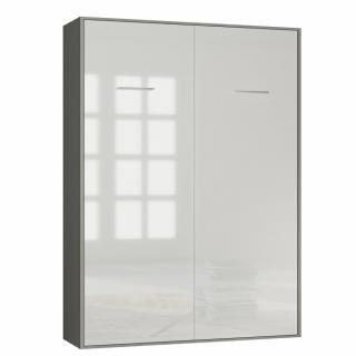 Armoire lit escamotable SMART-V2 structure gris graphite mat, façade Gloss blanc brillant 160*200 cm