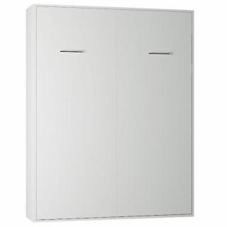 Armoire lit escamotable SMART-V2 blanc mat couchage 160*200 cm.