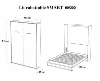 Armoire lit escamotable SMART-V2 gris graphite mat couchage 90*200 cm.