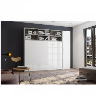 Composition armoire lit horizontale STRADA-V2 gris / blanc mat façade armoire-lit blanc brillant 1 colonne 140*200 cm