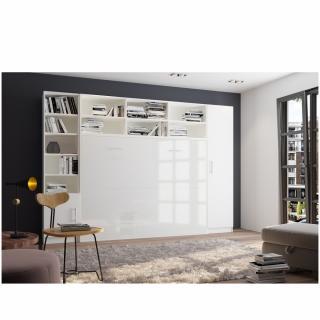 Composition armoire lit horizontale STRADA-V2 blanc mat façade armoire-lit blanc brillant avec 2 colonnes 140*200 cm