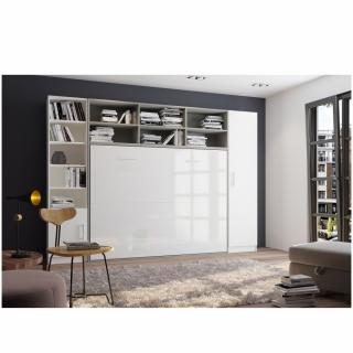 Composition armoire lit horizontale STRADA-V2 gris / blanc mat façade armoire-lit blanc brillant 2 colonnes 140*200 cm