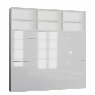 Lit escamotable STRADA-V2 structure blanc mat façade blanc brillant avec surmeuble 140*200 cm
