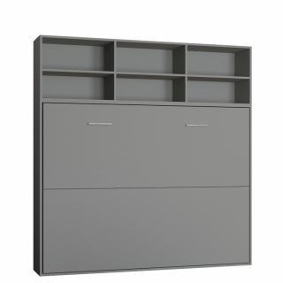 Lit escamotable STRADA-V2 gris mat Couchage 140 x 200 cm avec surmeuble 6 niches de rangements
