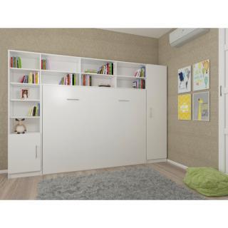 Composition armoire lit horizontale STRADA-V2 blanc mat Couchage 140cm avec surmeuble et 2 colonnes rangements