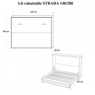 Armoire lit horizontale escamotable STRADA-V2 chêne couchage 140*200 cm.