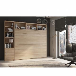 Composition armoire lit horizontale STRADA-V2 mélaminé chêne Couchage 160*200 avec surmeuble et 1 colonne bibliothèque