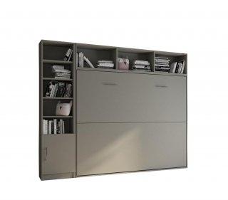 Composition armoire lit horizontale STRADA-V2 gris graphite mat Couchage 160*200 avec surmeuble et 1 colonne bibliothèque