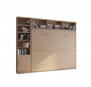 Composition armoire lit horizontale STRADA-V2 taupe mat Couchage 160*200 avec surmeuble et 1 colonne bibliothèque
