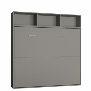 Lit escamotable STRADA-V2 gris mat Couchage 160 x 200 cm avec surmeuble 3 niches de rangements