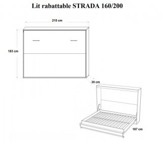 Armoire lit horizontale escamotable STRADA-V2 chêne couchage 160*200 cm.