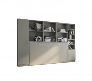 Composition armoire lit horizontale STRADA-V2 gris graphite mat Couchage 90*200 avec surmeuble et 2 colonnes rangements