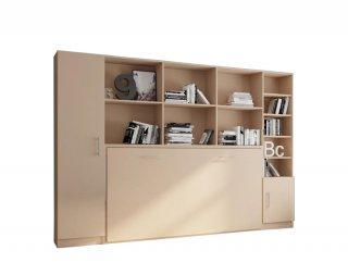 Composition armoire lit horizontale STRADA-V2 taupe mat Couchage 90*200 avec surmeuble et 2 colonnes rangements