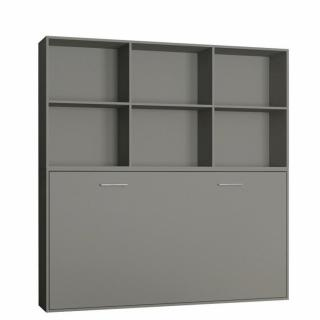 Lit escamotable STRADA-V2 gris mat Couchage 90 x 200 cm avec surmeuble 6 niches de rangements