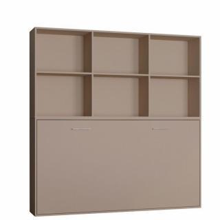 Lit escamotable STRADA-V2 taupe mat Couchage 90 x 200 cm avec surmeuble 6 niches de rangements