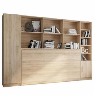 Composition armoire lit horizontale STRADA-V2 mélaminé chêne Couchage 90*200 avec surmeuble et 2 colonnes rangements
