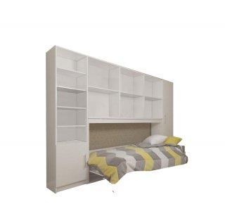 Composition armoire lit horizontale STRADA-V2 blanc mat Couchage 90cm avec surmeuble et 2 colonnes rangements