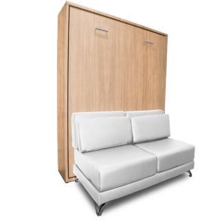 Armoire lit escamotable TOWN chêne canapé revêtement polyuréthane blanc intégré couchage 140 * 200 cm